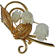 Gorgeous Hand Carved Bone Rose Gold Tone Brooch