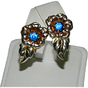 Arts & Crafts Sterling & Rose Gold Blue Paste Stone Floral Earrings