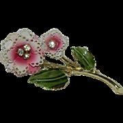 Frilly Enamel Rhinestone Floral Brooch in Pinks