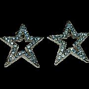 Light Blue Christmas Star Rhinestone Earrings ~ Pierced