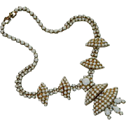 Magnificent Milk Glass Rhinestone Skirted Asian Design Necklace