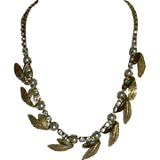 Divine Fall Leaves Faux Pearl & Rhinestone Necklace