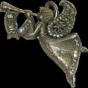 """Beautiful Crystal """"NOEL"""" Christmas Angel Brooch Trumpeter"""