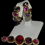 Gorgeous Napier Cut Glass Red Purple Bar Brooch & Earrings Set