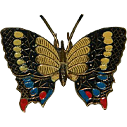 Spanish Damascene Enamel Butterfly Brooch