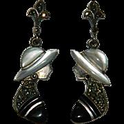 Sterling Art Deco Lady Onyx Mop Marcasite Earrings ~ Pierced