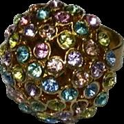 Brilliant Multi Colored Rhinestone Cluster Ring sz 6.5