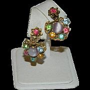 Striking Czech Art Glass & Crystal Filigree Dangler Earrings