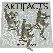 Trio of JJ Signed Nervous Climbing Cats on Original Card