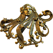 Spectacular JJ Signed Age of Aquarius Lady Brooch