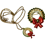 Vintage Christmas Wreath Set ~ Rhinestone Necklace & Brooch