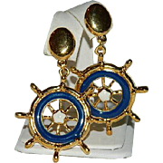 Nautical Avon Blue Enamel Ship's Wheel Dangler Earrings ~ Pierced