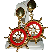 Nautical Avon Red Enamel Ship's Wheel Dangler Earrings ~ Pierced