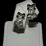 Vintage Rhinestone Holiday Bells Earrings