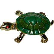 Vintage Green Enamel Turtle Figural Brooch