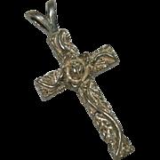 "Sterling Silver Rose Vines Cross Pendant ~ 1.5"""