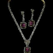 Edwardian Era Sterling Amethyst Lavalier Necklace & Dangler Earrings Set