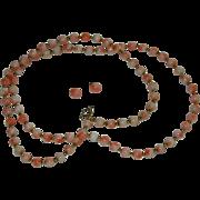 Estate 12K & 14K Angel Skin Coral Beaded Necklace & Pierced Earrings Set