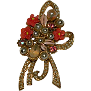 Florenza Floral Ribbon Wrapped Brooch w Opaque Stones