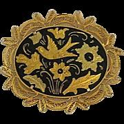 Old World Spanish Damascene Birds Floral Brooch
