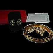 KJL Original Package Paperwork Leopard Print Bangle, Brooch, Earring Set