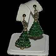 Green Enamel Christmas Tree Dangler Earrings