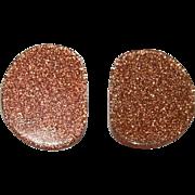 "Impressive Early Plastics ""Gold Stone"" Lucite Earrings"