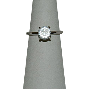 Vintage Uncas Signed 1ct CZ Engagement Style Ring sz 7