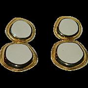 Pretty Mid Century Cream Enamel Modernist Earrings