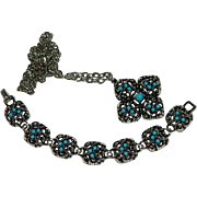 1973 Avon Sierra Faux Turquoise Stone Bracelet & Necklace Set