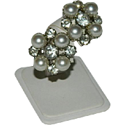 Old Hollywood Glam! Large Faux Pearls & oversized Rhinestone Earrings