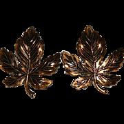 Copper Maple Leaf Earrings