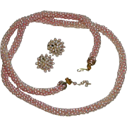 Soft Pink to Almost White Long Beaded Necklace & Earrings Set