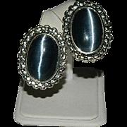 Large Glass Cat Eye Glass Cab Earrings