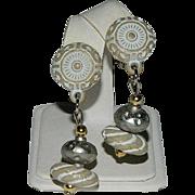Early Celluloid Etruscan Revival Dangler Earrings