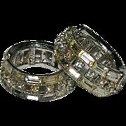 Classic Bogoff Baguette Rhinestone Hoop Clamper Earrings