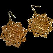 Oversized Puffy Filigree Snowflake Dangler Earrings