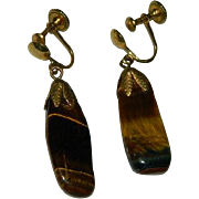 1940's Natural Tiger Eye Screw Back Earrings