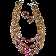 1950's Pin k Beaded Multi Strand Necklace & Earrings Set