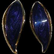 Carol Dauplaise Royal Purple Enamel Pierced Earrings In original Box
