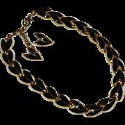 Elegant Black & Gold Tone Enamel Necklace & Earring set