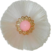 Rare! 1950's Soft Pink Celluloid Frill Floral Brooch