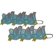 Early Celluloid Bird Chicks Hair Barrette Set