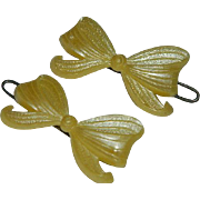 Early Celluloid Soft Yellow Bow Barrettes Pair