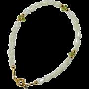 Pretty Mother of Pearl & Vaseline Glass beaded Bracelet