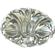 Hand Carved Mother of Pearl Floral Brooch