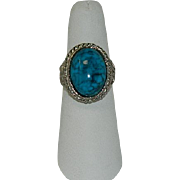 Faux Turquoise Silver Tone Adjustable Ring