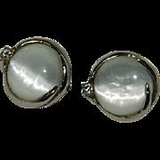 Stunning White Cat Eye Glass Cab Earrings