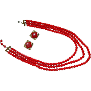 Romantic Cherry Red Glass Beaded Triple Strand Necklace w Earrings