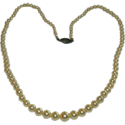 Simple Elegance 1940's Single Strand Simulated Pearls with Sterling Slider Clasp